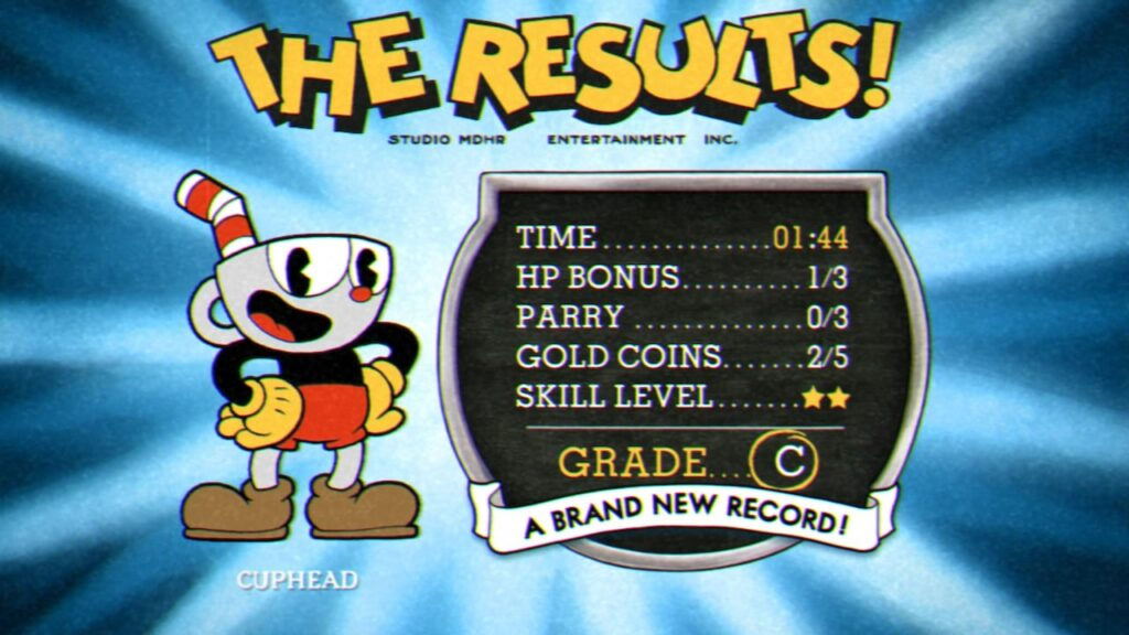 Cuphead Switch review - Results screen, scoring a C
