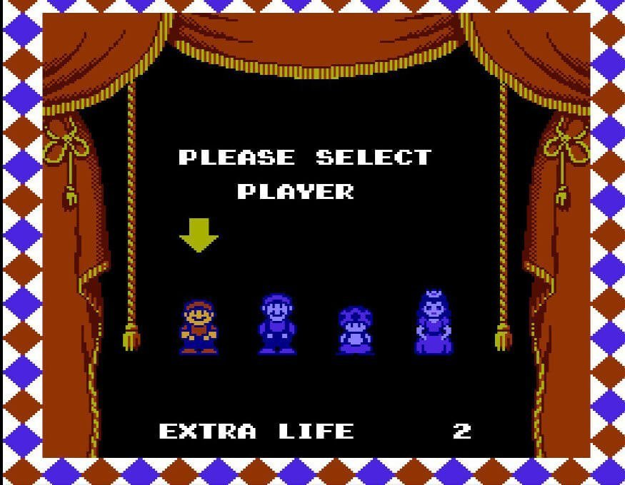 Character selection screen - Mario, Luigi, Toad and Peach