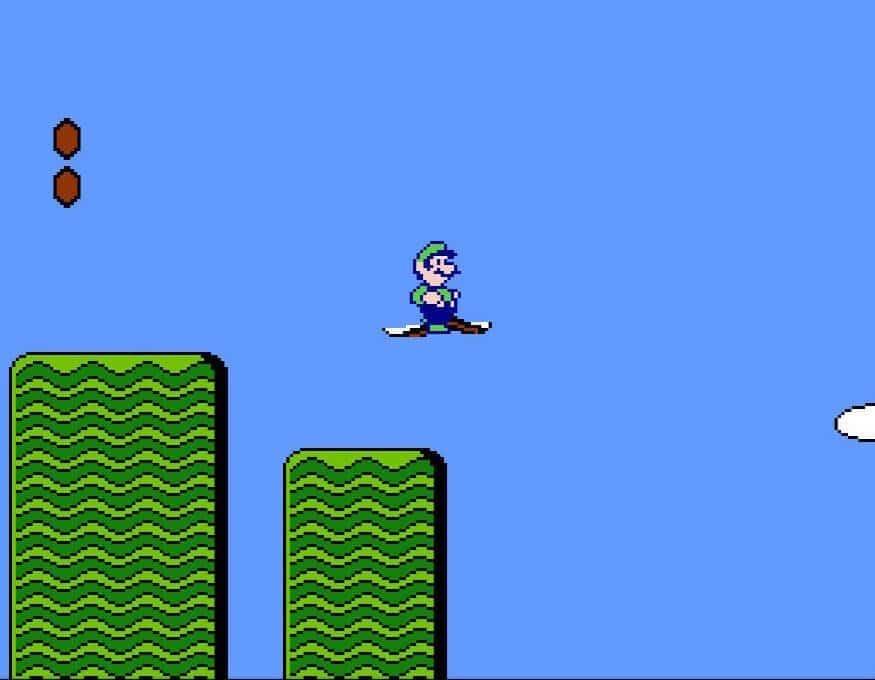 Luigi riding a flying carpet
