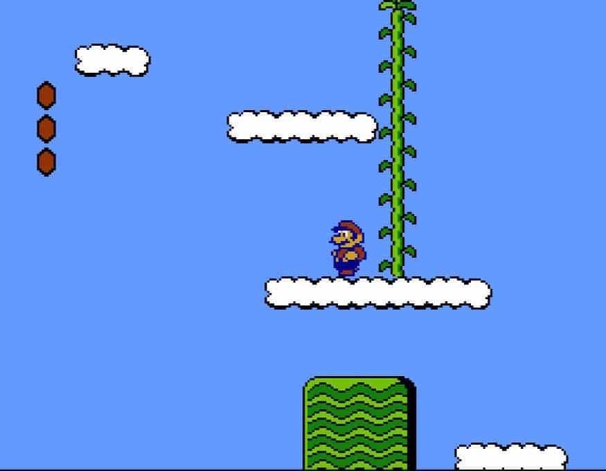 Mario standing on a cloud at the beginning of Super Mario Bros. 2