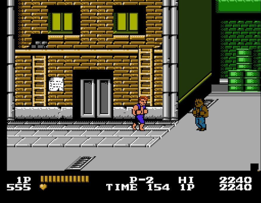 Early game in Double Dragon, fighting the early enemies