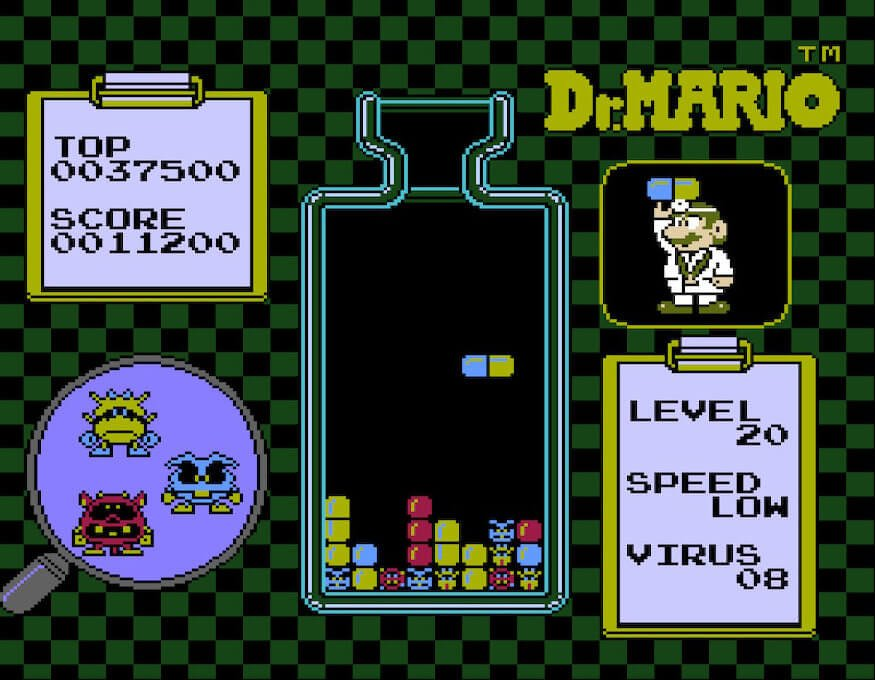 Nearing the end of level 20 in Dr. Mario