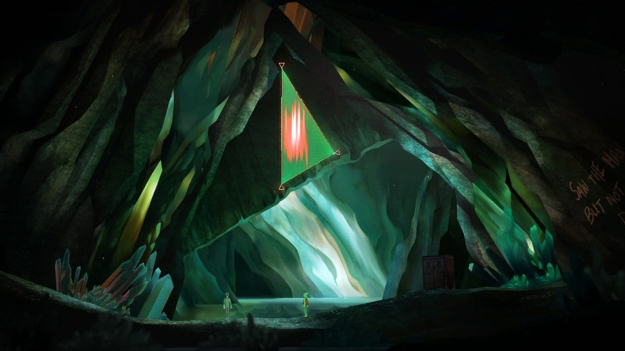 Strange angular shapes appearing in an underground cave