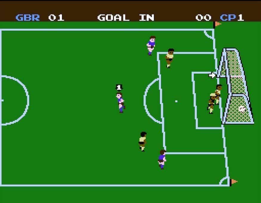 Scoring a goal in NES Soccer