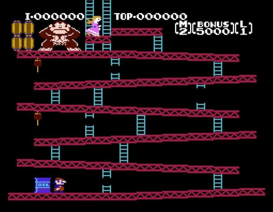 The first stage of the Original Donkey Kong