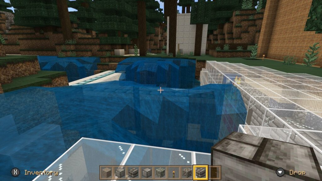 An attempt at an underground lair with water feature in Minecraft
