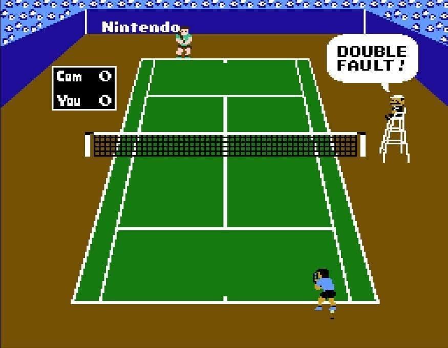 NES Tennis double fault on the court
