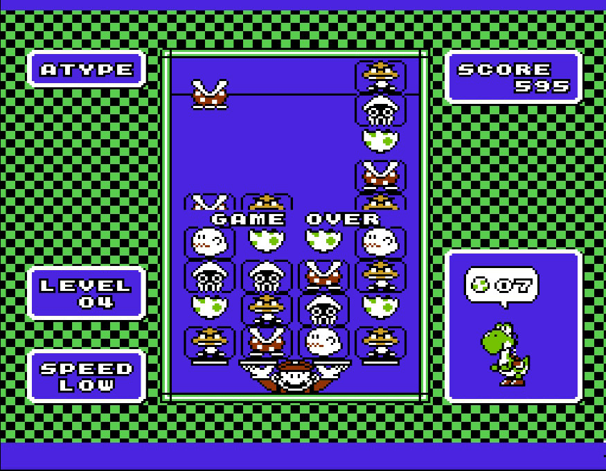 Yoshi for the NES, game over