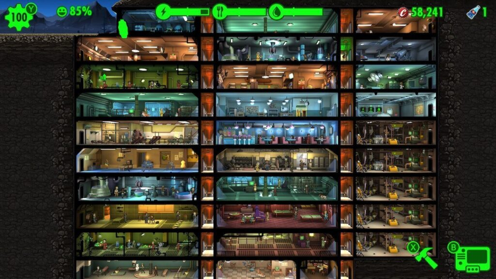 A vault slowly getting filled up in Fallout Shelter