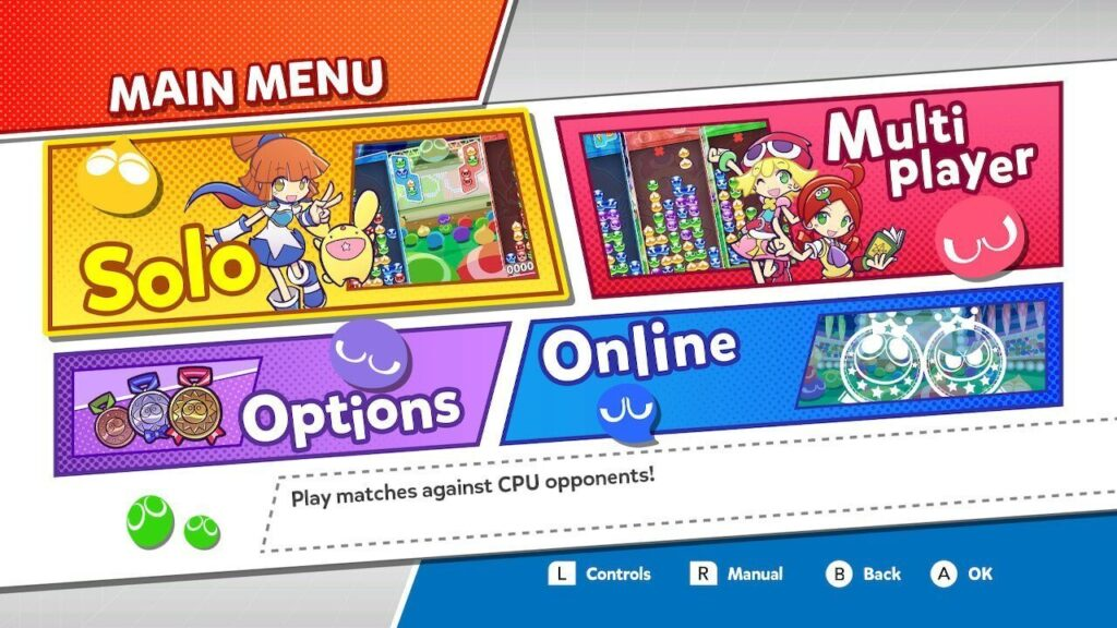 The menu screen with some of the available options
