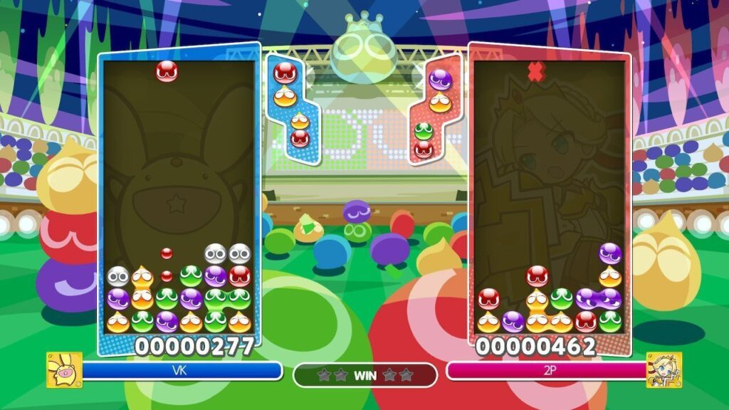A two player game of Puyo Puyo Champions