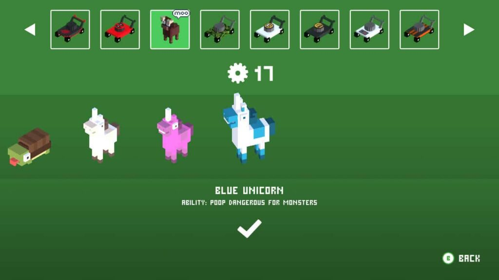 Lawnmower/animal selection - this is a unicorn that poos