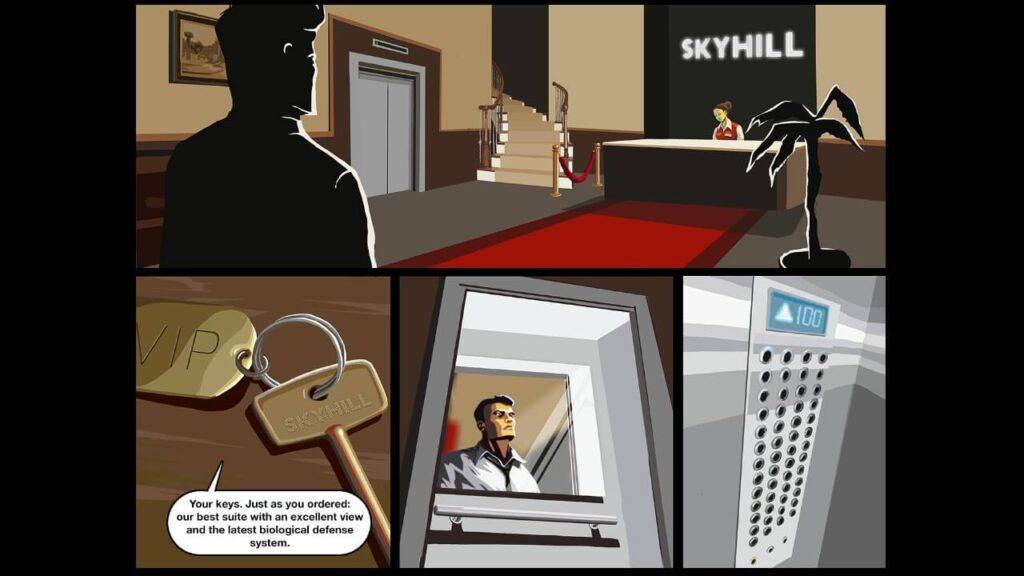 Skyhill story sequence detailing that the VIP room is protected from biological attacks