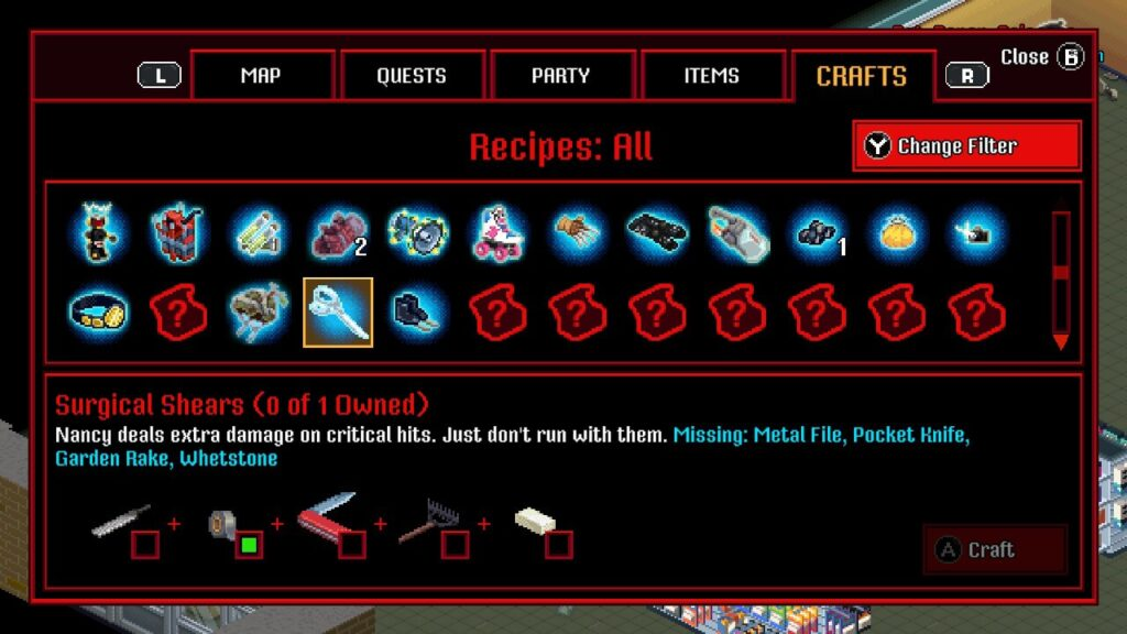 An example of the crafting menus
