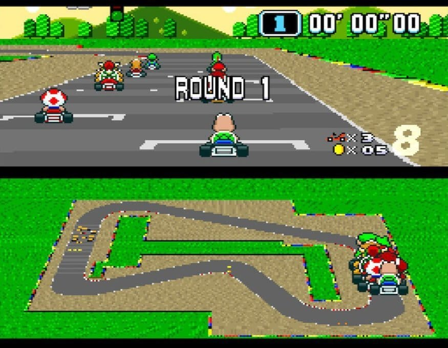 Super Mario Kart: The opening race for the Mushroom Cup