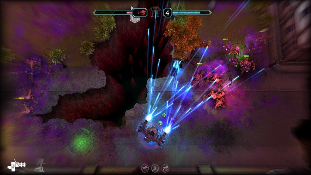 Telsa enters his mech and a series of projectiles cut through the enemies on screen