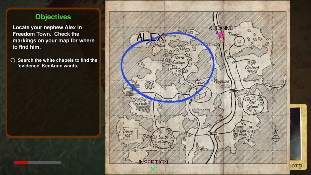 The objective in The Church in the Darkness is to locate your nephew using the provided map
