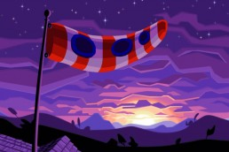 DOTT: Tentacle flag in the foreground of a sunset