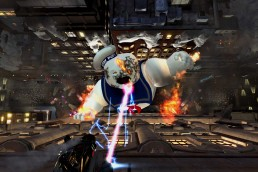 Stay Puft Marshmallow Man being pushed down building by proton beams