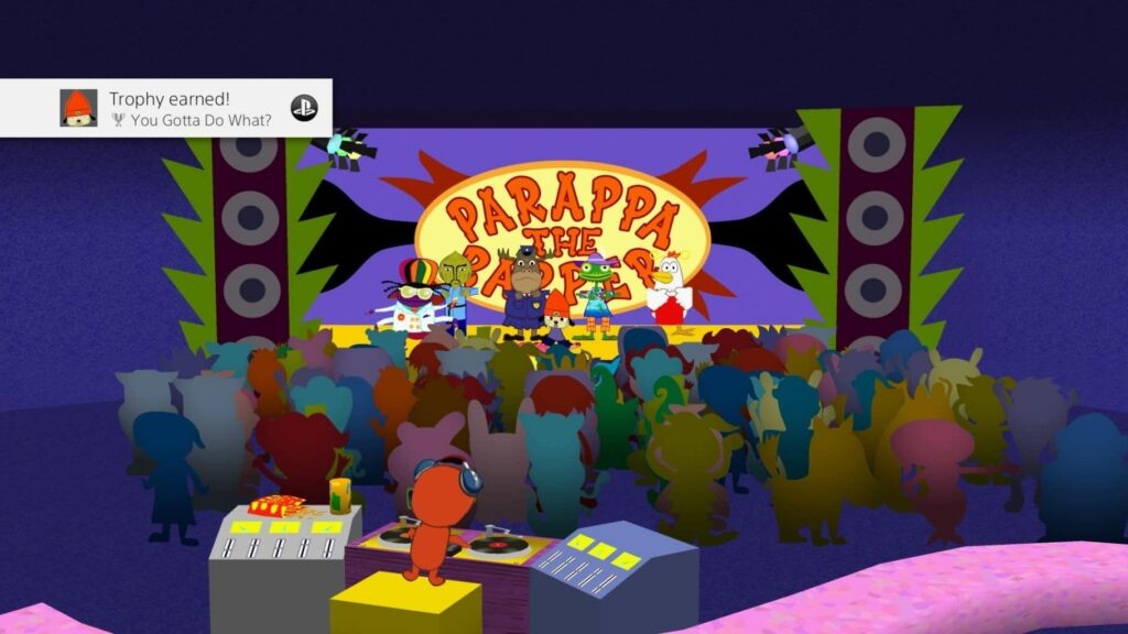 Unlocking a trophy at the end of PaRappa the Rapper