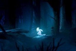 A playable cutscene of Ori walking alone through the dark forest