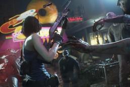 Resident Evil 3 remake press release over the shoulder shot