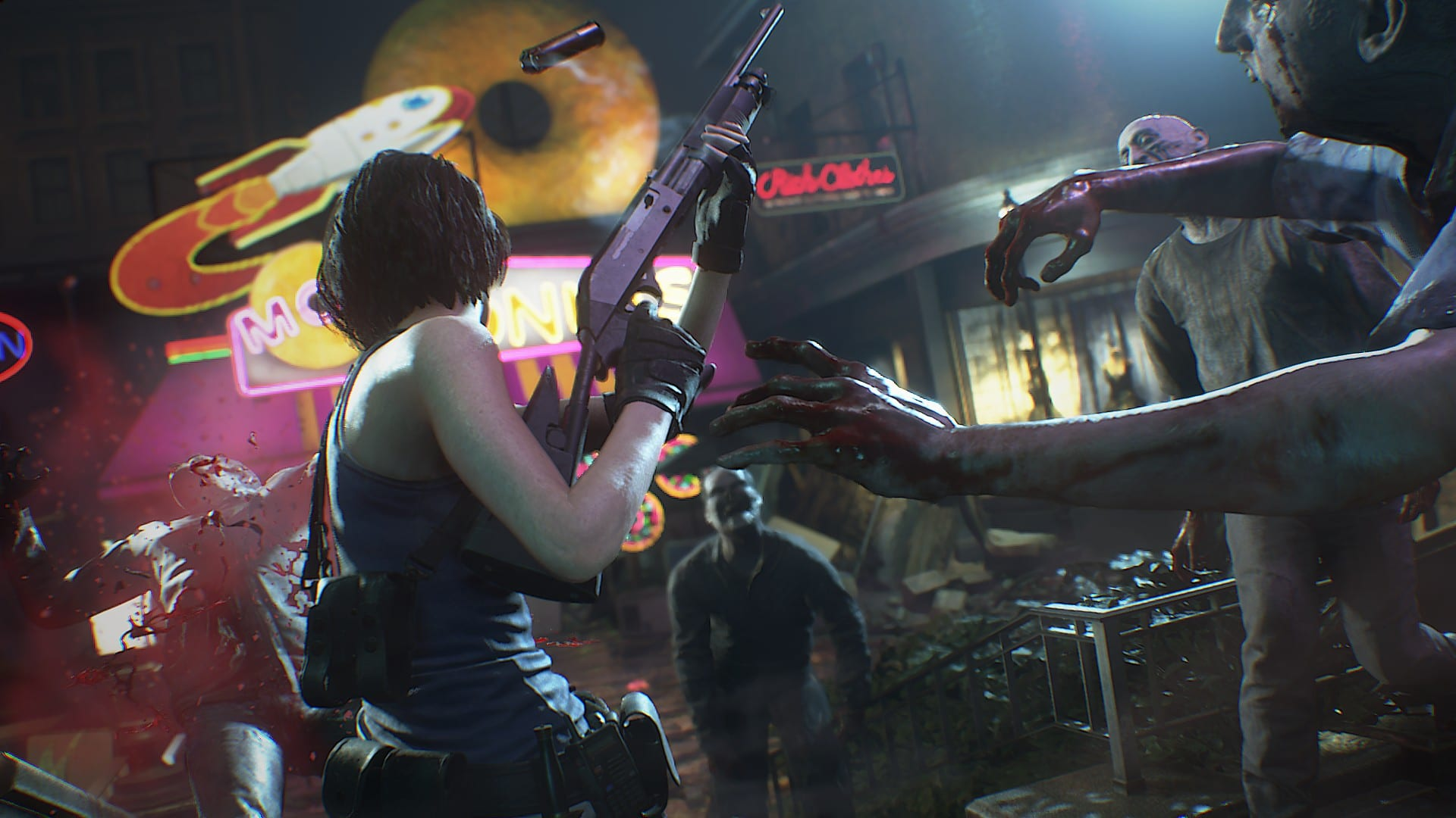 Resident Evil 3 remake press release over the shoulder shot