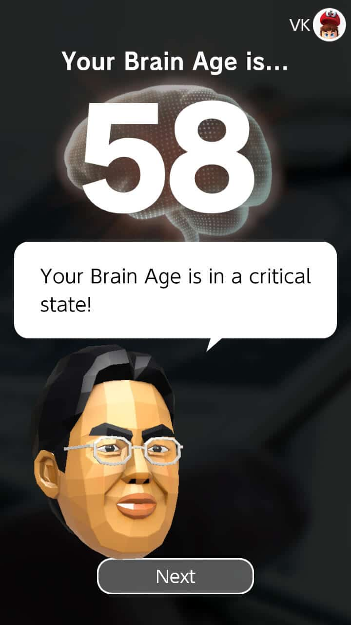 Finding out my current brain age in Dr Kawashima's Brain Training for Nintendo Switch