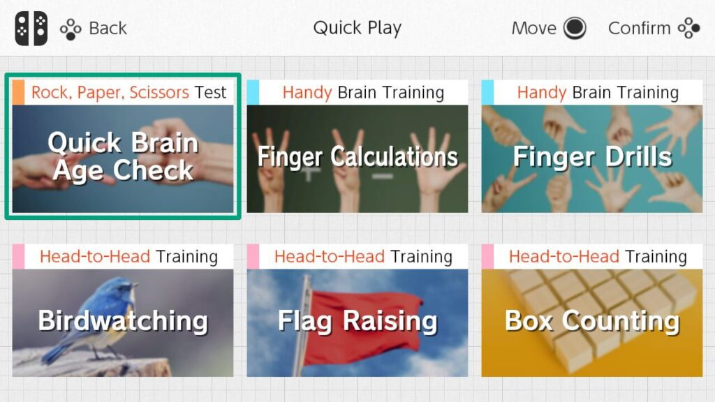 Quick Play options in Dr Kawashima's Brain Training for Nintendo Switch
