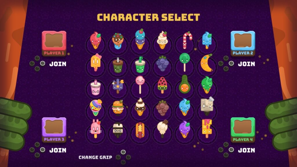 Party Treats - Character selection screen
