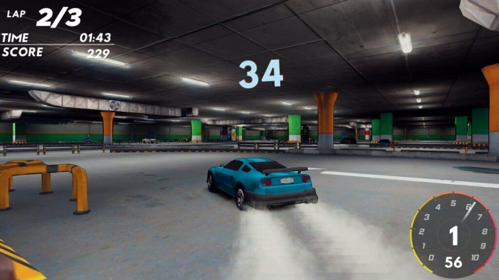 Drifting in an underground car park