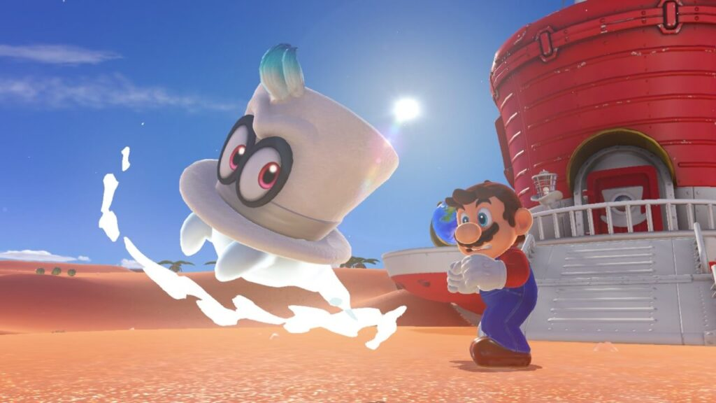 Mario throws Cappy in Mario Odyssey