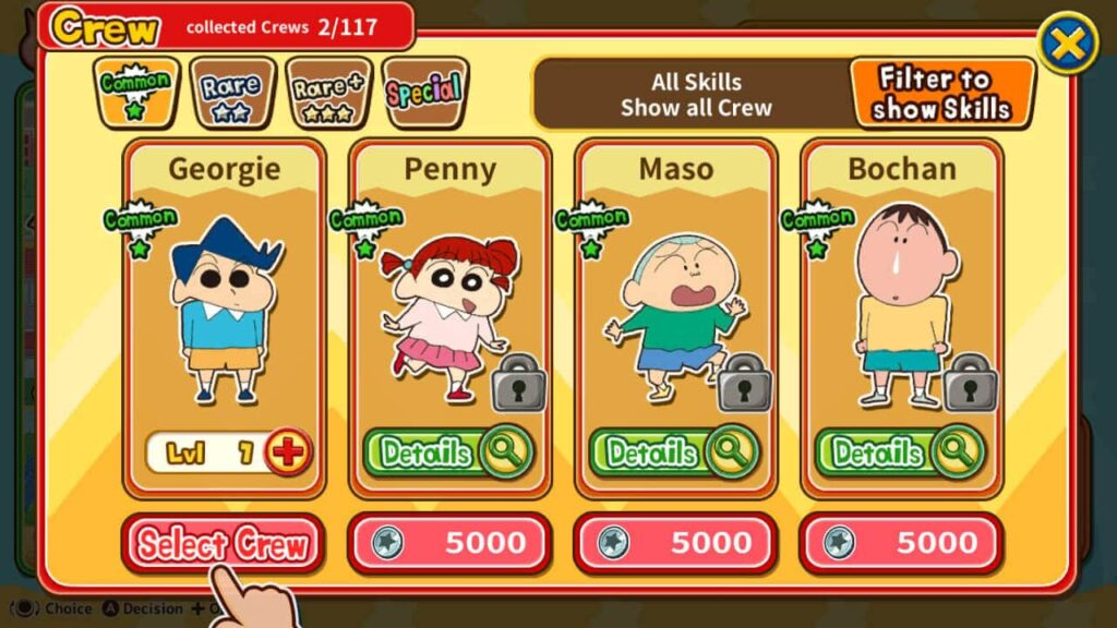 Crayon Shin-Chan - Character select