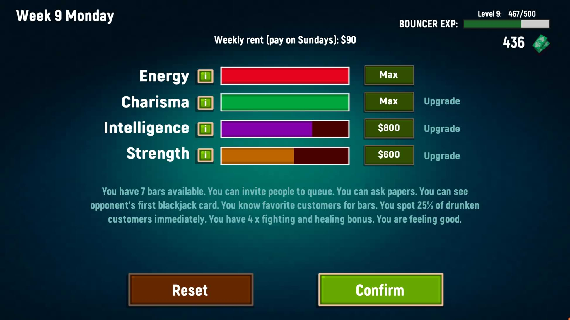 Bouncer Story - Stats